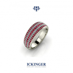 White Gold, Ruby & Diamond Pavé Mens Ring