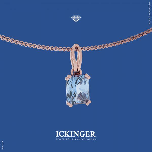 Aquamarine Rose Gold Necklace