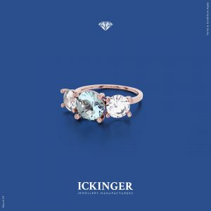 Aquamarine Rose Gold Trinity Diamond Brilliant Cut Ring