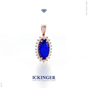 Tanzanite Marquise Cut Rose Gold Diamond Pendant