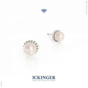 White Gold Halo Pearl Diamond Stud Earrings