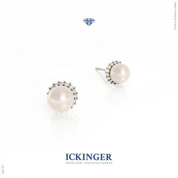 White Gold Halo Pearl Diamond Stud Earrings