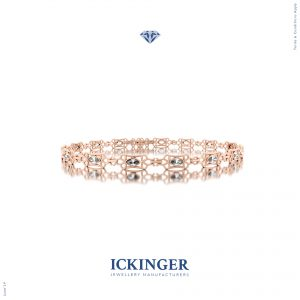 Rose Gold Trilliant Cut Moissanite Bracelet