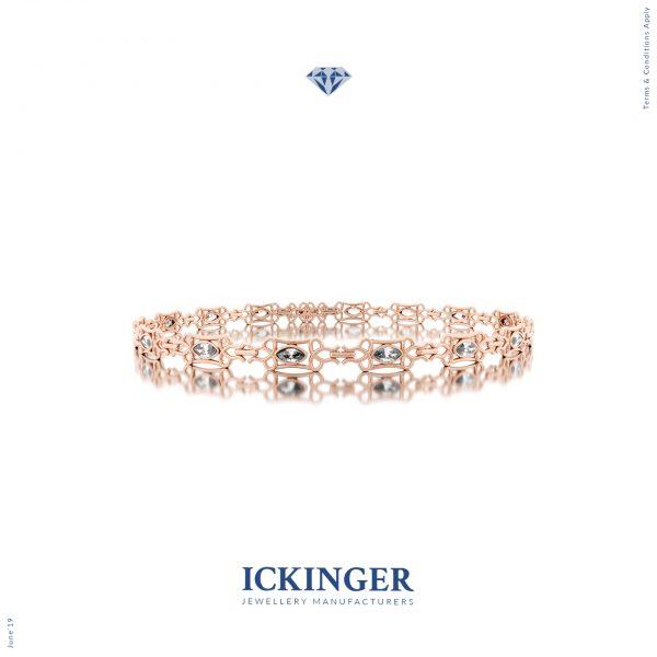 Rose Gold Trilliant Cut Moissanite Bracelet