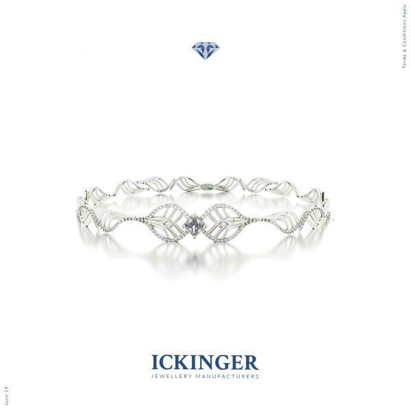 White Gold Princess Cut Moissanite Bracelet