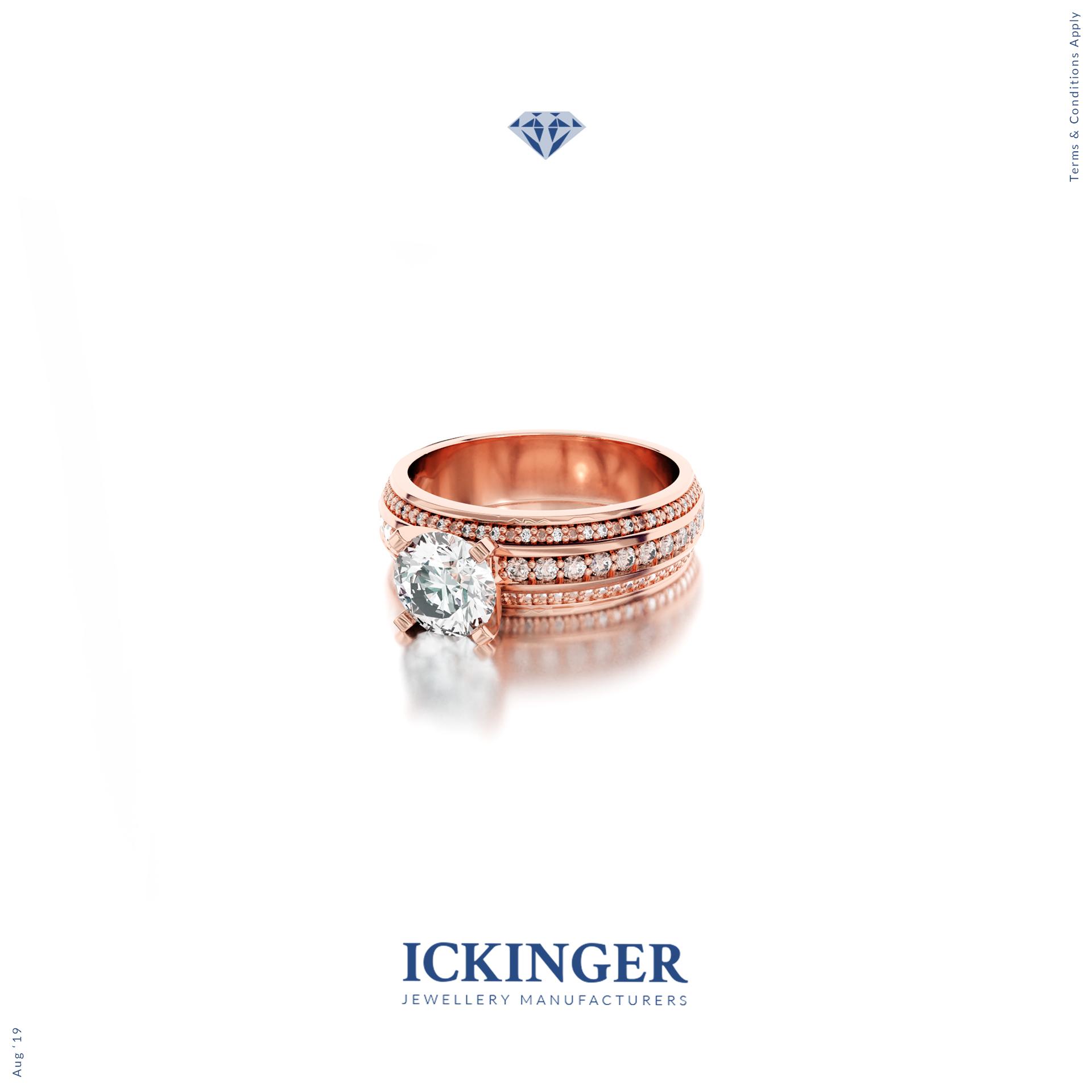 Rose Gold Moissanite Engagement Ring Ickinger Custom Jewellery