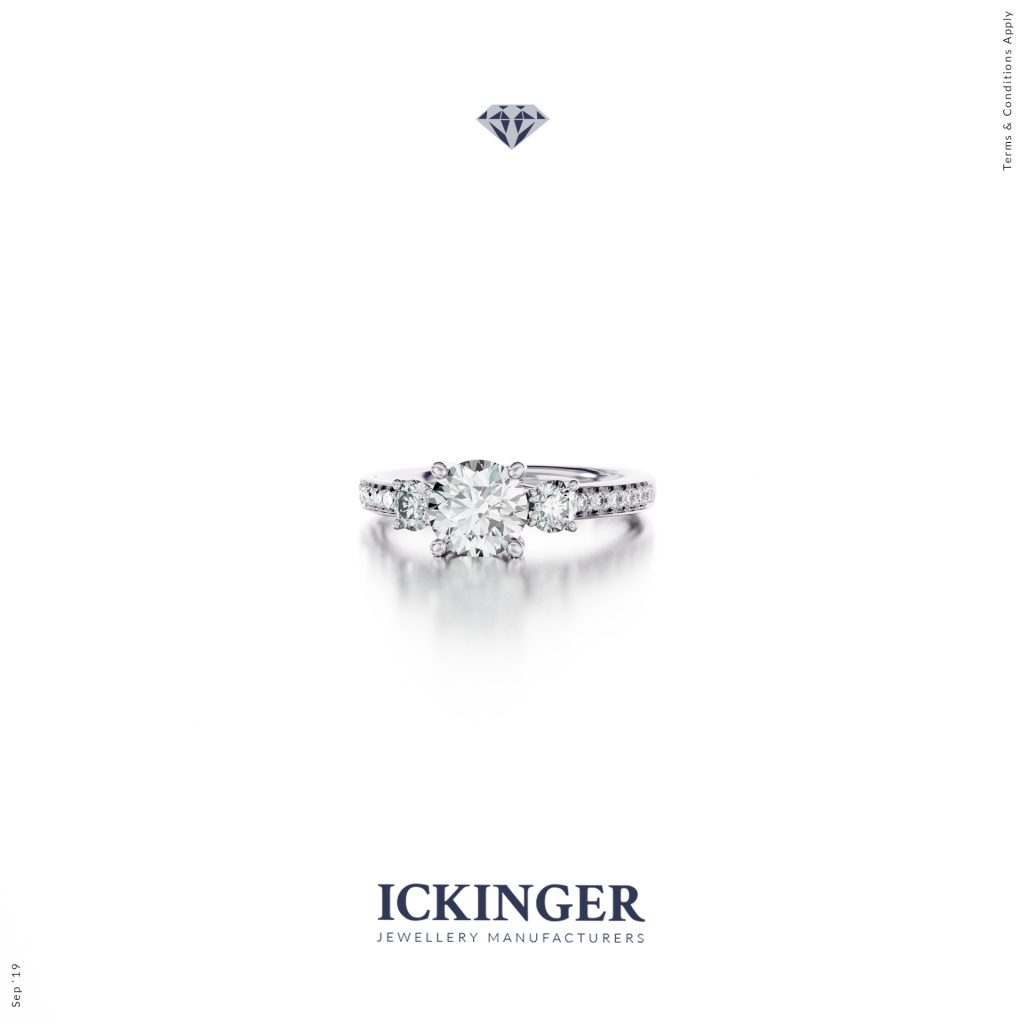 White Gold Cathedral Moissanite Engagement Ring