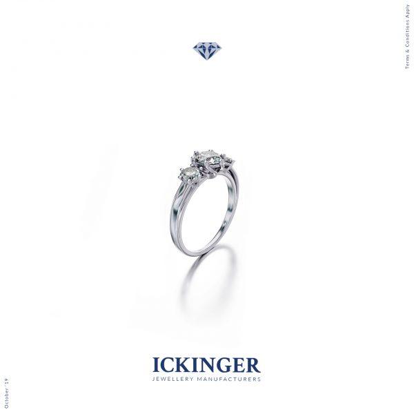 White Gold Zirconia Engagement Ring